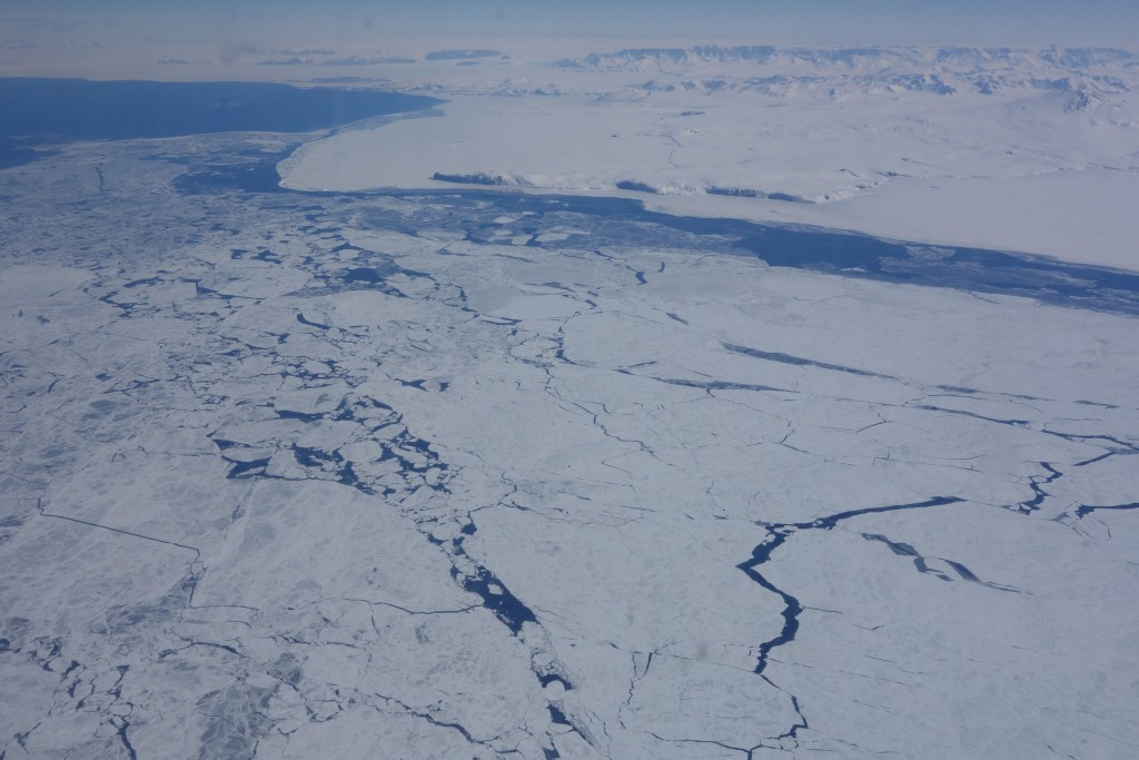 Sea ice approaching Antarctica.