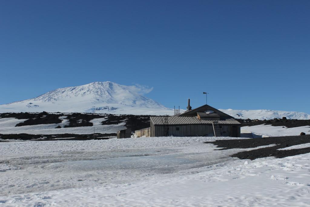Scott's Terra Nova Hut and the SW side of Mt Erebus.