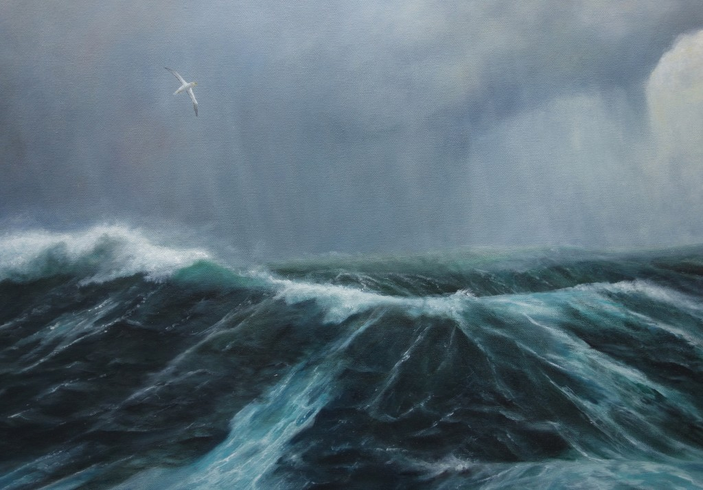 Close focus cropped image of the Southern Ocean painting.